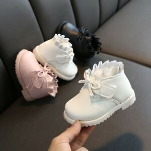 Winter-Toddler-Baby-Girls-Bowknot-Solid-Warm-Short-Boots-Booties-Causal-Shoes-AU