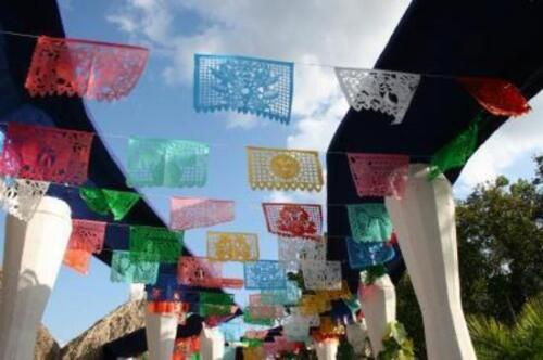 Frida Kahlo theme Mexican papel picado banners bunting paper 3 Set of three