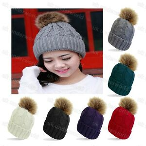0cc1e902040 Ladies Fleece Lined Cable Knitted Beanie Bobble Hat With Detachable ...