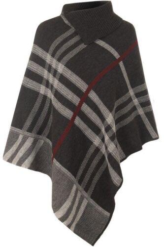 Femme Femmes Poncho Tartan Carreaux Tricot Cape Hiver Chaud Châle Pull Cardigan