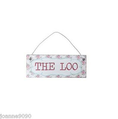 THE LOO RETRO VINTAGE SHABBY FLORAL LACE METAL HANGING PLAQUE TOILET DOOR SIGN