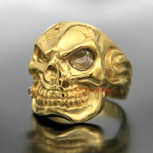 Men/'s Gold Acier Inoxydable Crâne Blanc Clair Zircone Cubique oeil cigare Biker Rocker Bague Punk