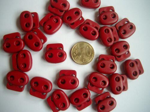 24 Feder Kordelstopper 2 Loch Kordelenden Farbe Rot für Kordelstärke bis 3 mm
