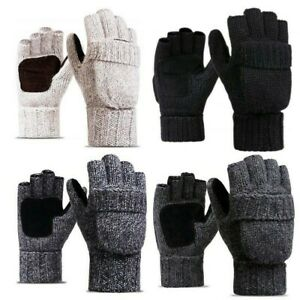 Men-Women-Winter-Warm-Gloves-Fingerless-Convertible-Knitted-Wool-Mittens-Classic