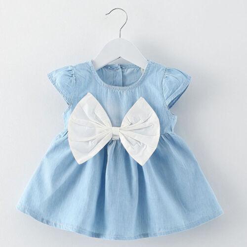 Mignon Charmant Bébé Fille Sans Manches Solide robe de coton Big Bow robe tutu
