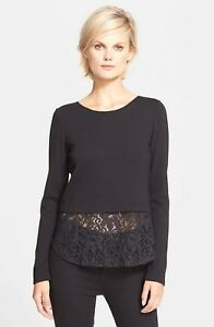 Theory L 285 Sort Layered Sweater Panel Lace Bente Sz r0qwzr4