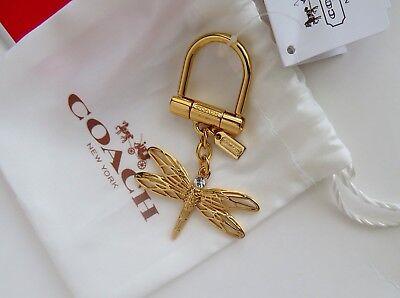 Coach 3D Dragonfly Key Chain Fob Ring Gold F64136 *Rare* w/ Dust Bag