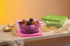 TUPPERWARE CLEAR SQUARE ROUND CONTAINERS BOWLS (2 PCS) - BEST GIFTING PRODUCT