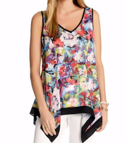 Karen Kane 1L57530 Art /& Soul Floral Technicolor Handkerchief Hem Tank Top $79
