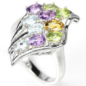Natural-TOPAZ-AMETHYST-CITRINE-PERIDO-925-STERLING-SILVER-RING-S9-25-ChunKY-BoLD