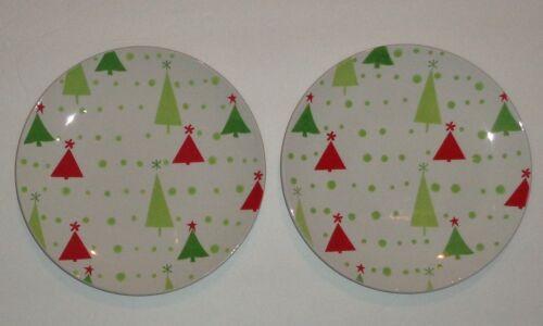 "2 Pier 1 Christmas Trees Salad Dessert Plates Green Red Trees Green Dots EUC 8/"""