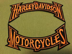 Harley-Davidson-Orange-Trim-Rockers-Patches-Set-Large-Biker