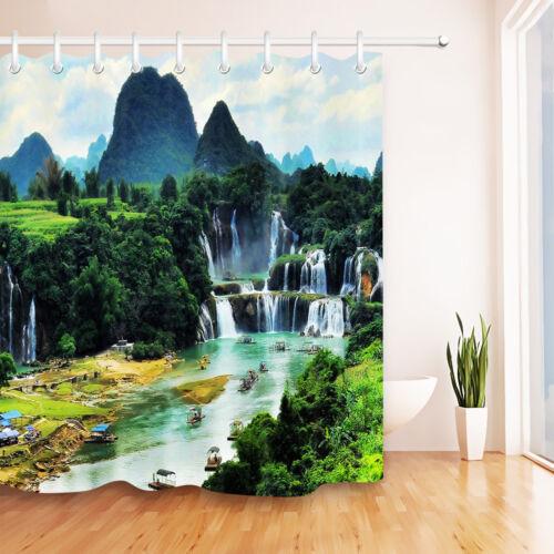"Waterfall Ship Tour Bathroom Decor Waterproof Fabric Shower Curtain Hooks 60//72/"""