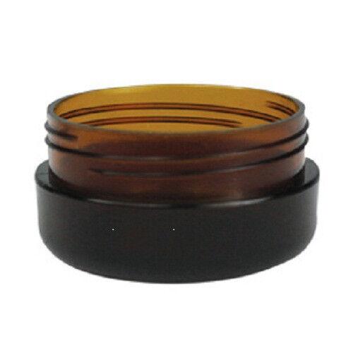 40 x 10g Amber Plastic Lip Balm Small Sample Cosmetic Jars Container + Black Cap