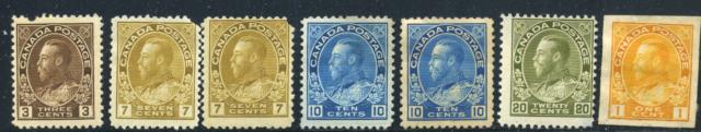Canada #108/136 mint faults 1911-1925 King George V Admirals  CV$340.00