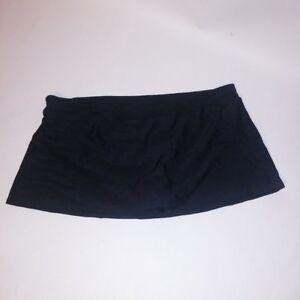 Basic-Editions-Swim-Bottom-Swim-Suit-Skort-Skirt-Solid-Black-Plus-Size