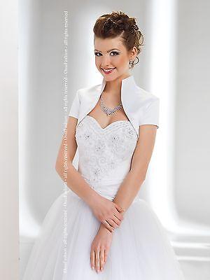 NEW Luxury Wedding Satin Shrug Bolero Cap Sleeve Sizes 6-16 (XS,S,M,L,XL,XXL)