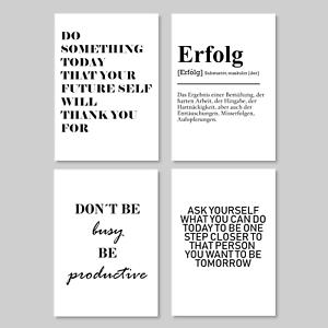 4er Set Motivation Wandbild Bild Poster Kunstdruck A4 Erfolg Leben Sprüche Deko