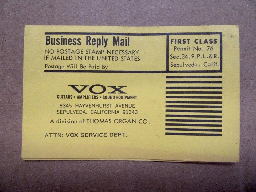 1960's Vox Service Dept. Garantiekarte