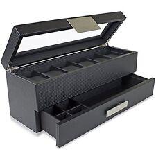 Watch Box Valet Drawer for Men 6 Slot Luxury Case Display Carbon Fiber