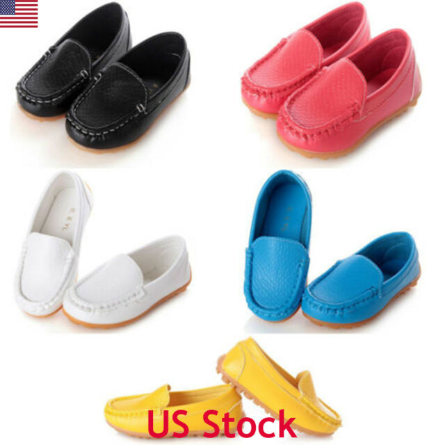 US Boys Girls Pink Leather Casual New Kids Smart Dress Formal School Shoes Size