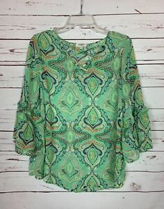 Umgee USA Boutique Women's S Small Green 3/4 Sleeve Spring Cute Top Blouse Shirt