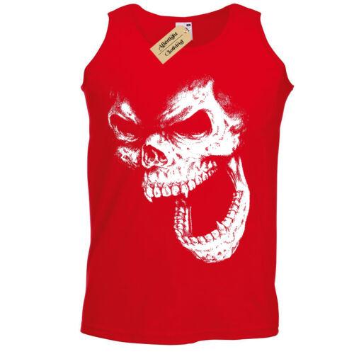 SKULL Mens Tank Top SCREEN PRINTED vest