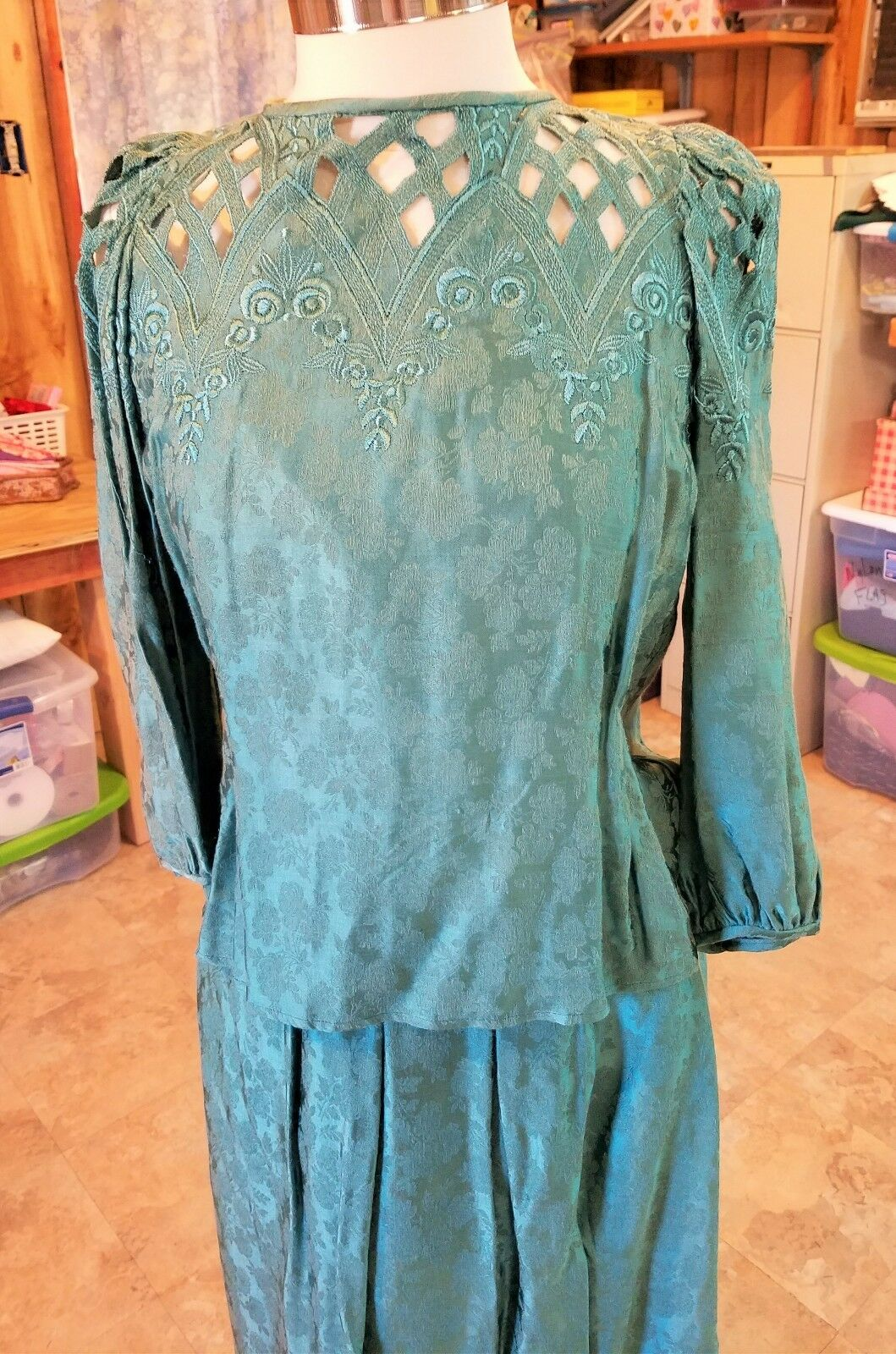 Vintage Cloak of Many colors  Seagreen Top and Skirt size 10 Liberty and Lucrezi