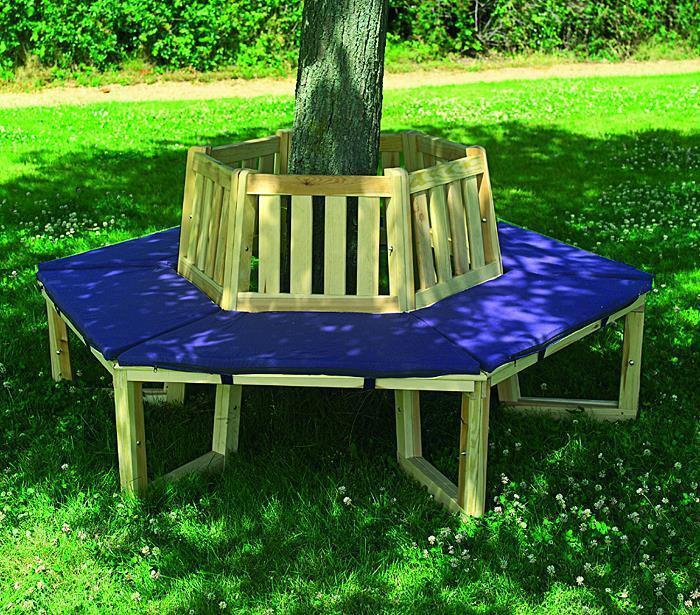 PROMADINO Baumbank 360° mit Sitzauflagen blau 504060 Holz Holz Holz Kiefer 63f2c6