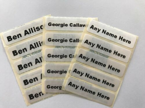 50 Iron On Sew In School Uniform//Clothing Washable Name Tag Labels Personalised.