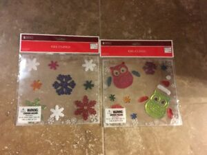 Gel Clings Owls & Snowflakes & Colorful Snowflakes Christmas Winter NEW