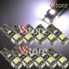 10 Lampade LED T10 5 SMD No Errore BIANCO Xenon CANBUS Per Targa Posizione Luci