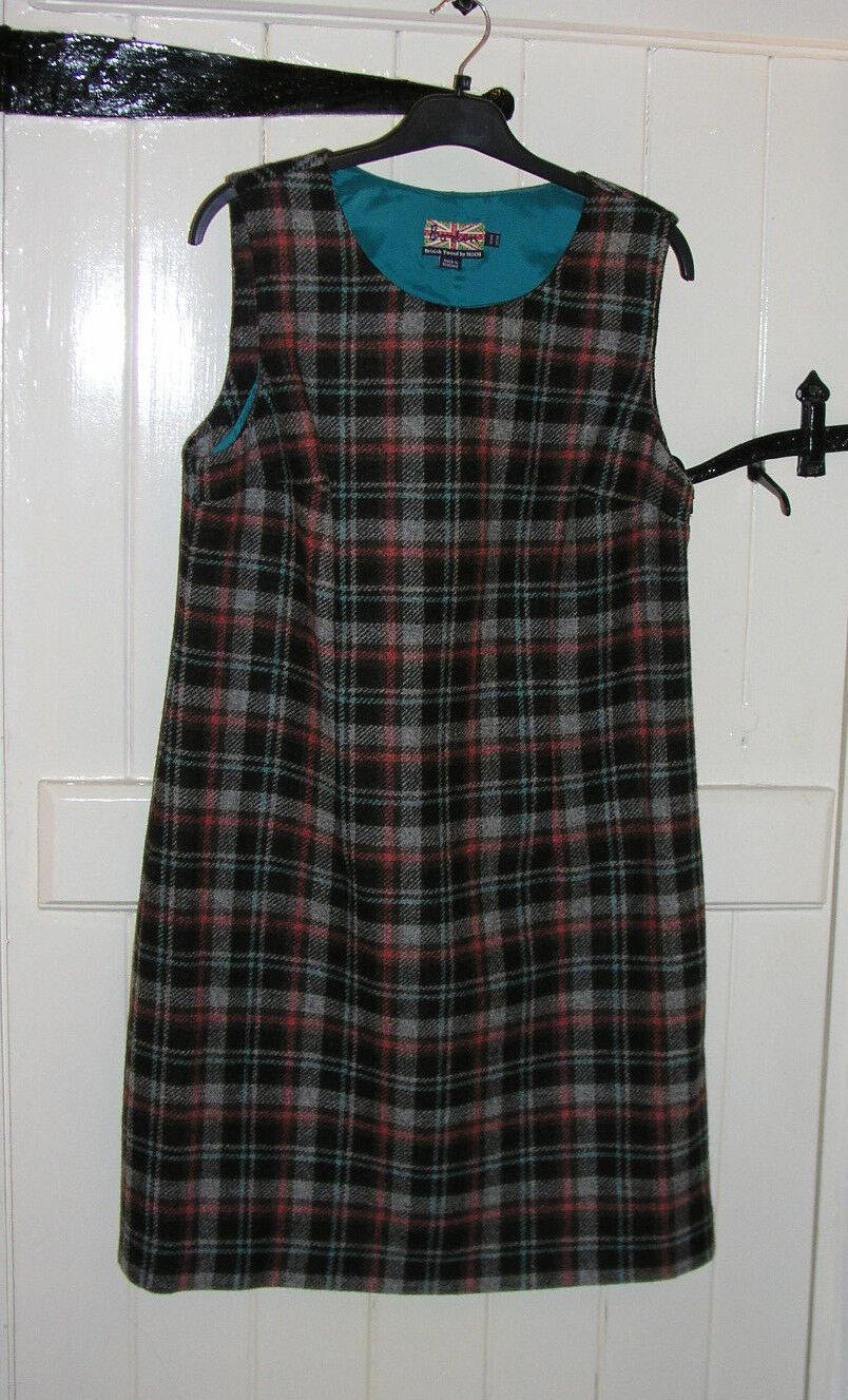 Vestido de lana BODEN Tweed por MOON MOON MOON Marrón Naranja Cerceta Talla 14R Forrado 083609