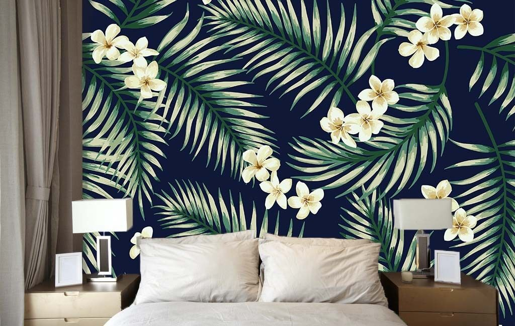 3D Green Leaf Paint 7 Wallpaper Mural Paper Wall Print Wallpaper Murals UK Lemon