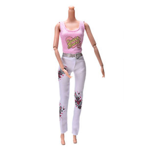 2X-Pink-Vest-Suit-for-Dolls-Fashion-White-Pants-Printed-Doll-Cloth-w2l-FBATAU