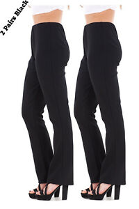 Ladies-Finely-Ribbed-Bootleg-STRETCH-Trousers-2-PAIRS-IN-BLACK-Size-10-to-24