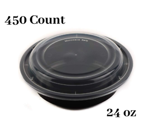 24 oz  450 Count  Round Microwaveable Plastic Meal Prep Containers with Lids