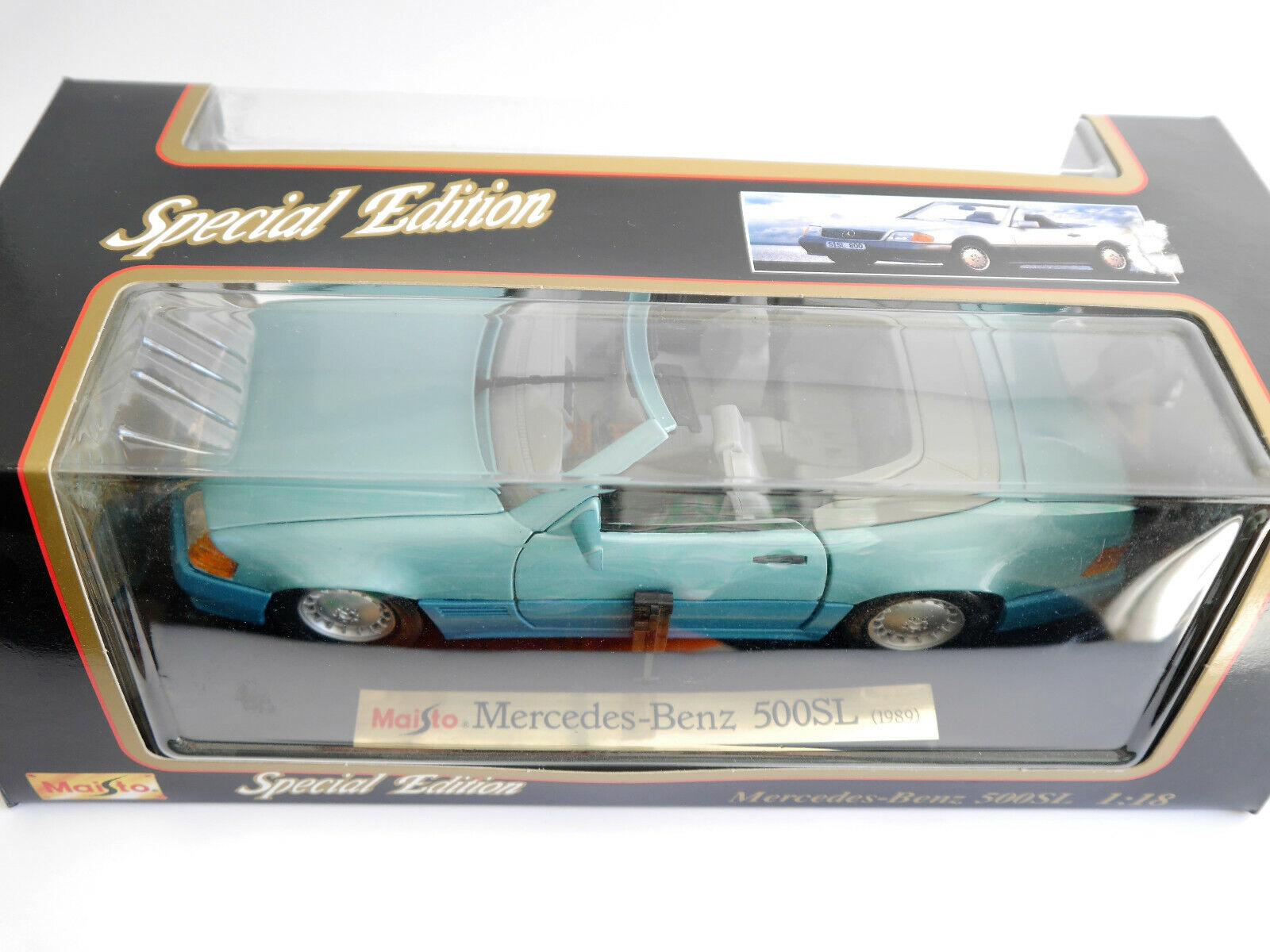 Mercedes R 129 500 sl en berilo metalizado turquesa Turquoise, maisto en 1 18 Boxed