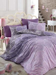 bettw sche 135 x 200 biber flanell lila rosa warm winter muster bunt baumwolle ebay. Black Bedroom Furniture Sets. Home Design Ideas