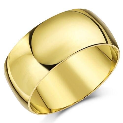 Anillo De Oro Amarillo 9ct luz en forma de D Anillo De Boda Banda sólido /& caracteriza
