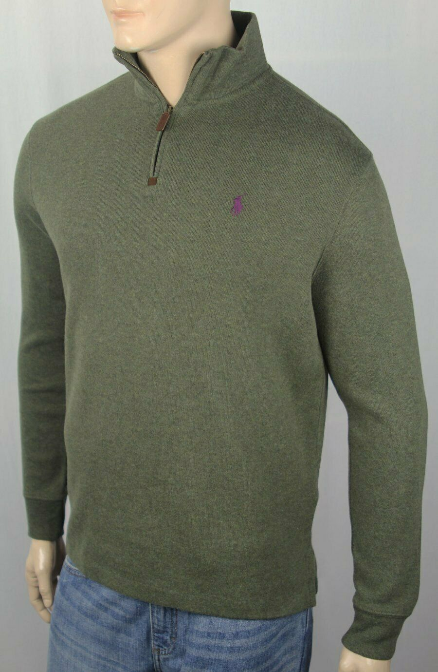 Polo Ralph Lauren Olive Green 1 2 Half Zip Sweater Plum Pony NWT