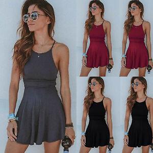 Women-039-s-Summer-Casual-Sleeveless-Short-Mini-Dress-Strappy-Beach-Swing-Sundress