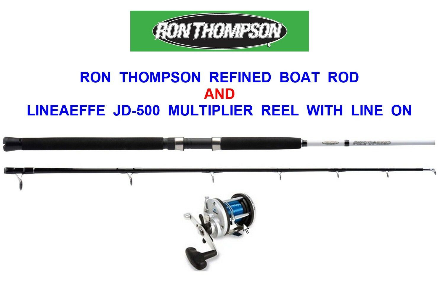 RON THOMPSON 7ft BOAT ROD+JD500 MULTIPLIER REEL+LINE FOR TROLLING JIGGING UPTIDE