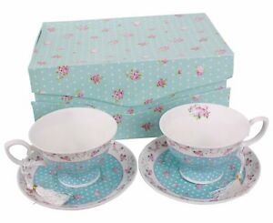 Cafe-the-tasses-et-soucoupes-Set-de-2-Vintage-Flora-Rose-Bleu-Rose