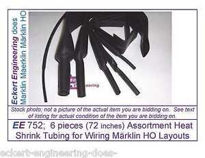 EE 752; 6 pieces (72 inches) Assortment Heat Shrink Tubing for Wiring Märklin HO