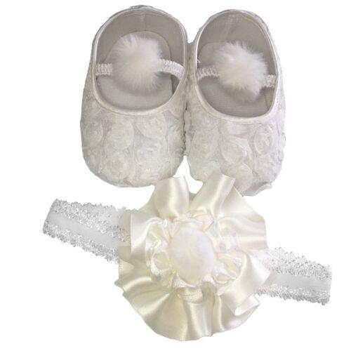 Bébé Filles Baptême Chaussures et Bandeau Set Blanc Ivoire Satin Baptême Boîte Cadeau