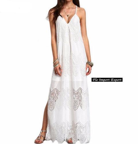Vestito Donna Abito Lungo Copricostume Pizzo Woman Maxi Lace Dress 110314