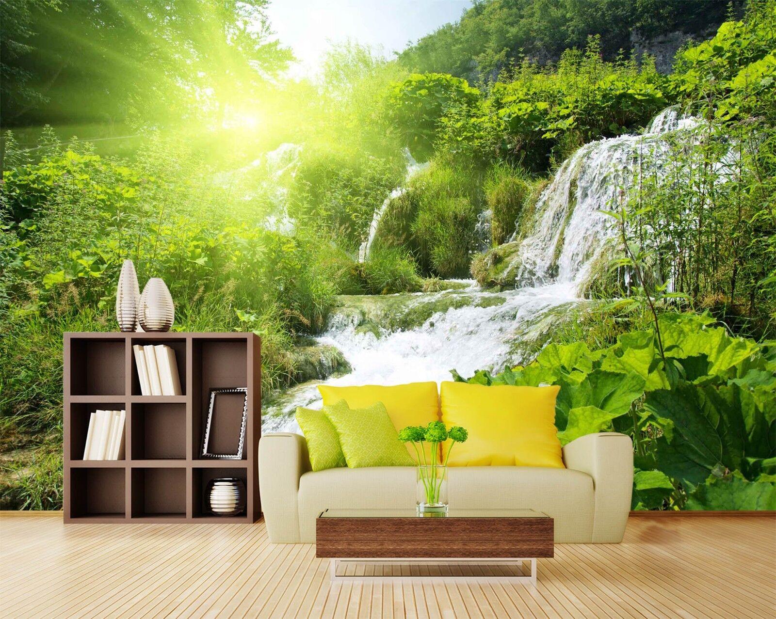 3D Creek Forest 7304 Wallpaper Mural Wall Print Wall Wallpaper Murals US Lemon