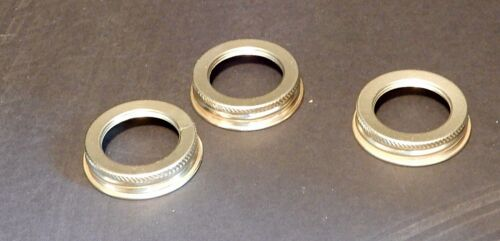 Set of 3 Polished Brass finish Screw-On #2 Burner size Brass Oil Lamp Collars
