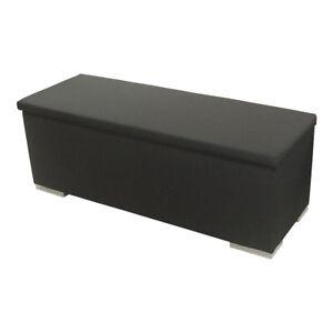Sitzbank Chest Truhe Schlafzimmer Stoff in schwarz Deckel gepolstert ...